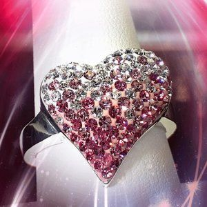 1.39 CT. Pink Topaz £ Diamond Ombre Heart Ring